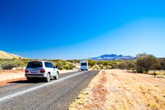 Driving toward Mt Zeil in the West MacDonnell Ranges Royalty Free Stock Photos