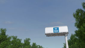 Driving towards advertising billboard with China State Construction Engineering Corporation logo. Editorial 3D rendering Royalty Free Stock Photography
