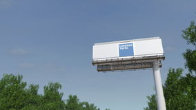 Driving towards advertising billboard with The Goldman Sachs Group, Inc. logo. Editorial 3D rendering 4K clip. Driving towards advertising billboard with The stock video footage