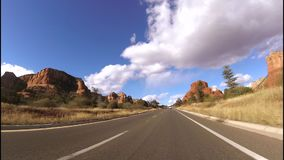 Driving towards Bell Rock in Sedona,Az. stock footage