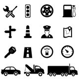 Driving and traffic icons. Driving, road and traffic icon set Royalty Free Stock Images