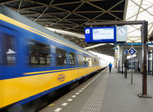 Driving train. A driving train at the train-station in Roosendaal in the Netherlands Royalty Free Stock Photography