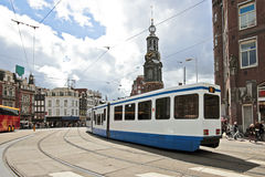 Driving tram in Amsterdam Netherlands Stock Image