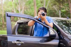 Driving Travel and Take Photo Royalty Free Stock Images