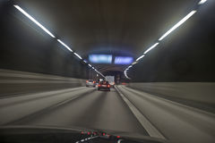 Driving in a tunnel Royalty Free Stock Images