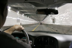 Driving in a tunnel Stock Photo