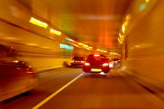 Driving through the tunnel. Driving through the Maastunnel near Rotterdam in the Netherlands Stock Image
