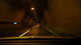 Driving in a tunnel stock video footage