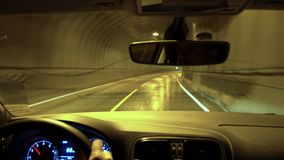 Driving through tunnel, Lofoten Islands. Norway stock footage