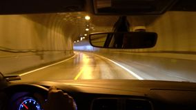 Driving through tunnel, Lofoten Islands. Norway stock video footage