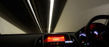 Driving through tunnel Royalty Free Stock Photo