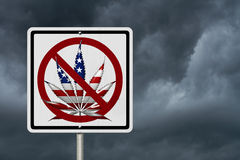 Driving Under the Influence of Marijuana. A road highway sign with a marijuana leaf in USA flag colors with stormy sky background stock photography
