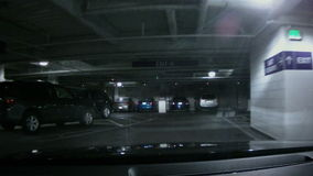 Driving Through an Underground Parking Structure stock footage