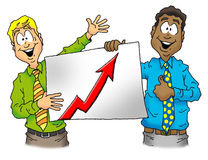 Driving up sales. Two happy executives showing off a profitable sales chart Stock Photo