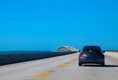 Driving on US highway 1 to Key West Royalty Free Stock Images