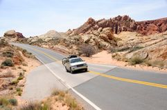 Driving Through Valley of Fire State Park Royalty Free Stock Photos