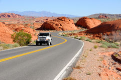 Driving Through Valley of Fire State Park Royalty Free Stock Images