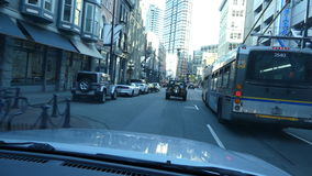 Driving through Vancouver downtown. Vehicle shot Gastown historical district Vancouver Canada 9 Sept 2016 stock footage