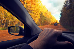 Driving at a wheel the car.Travel countryside. Fall. The photo is tinted in a retro style. Royalty Free Stock Image