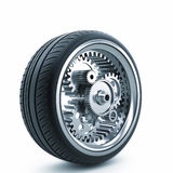 Driving wheel. The concept of mechanical drive wheel Royalty Free Stock Photos