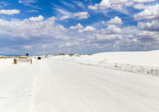 Driving through White Sands. Dunes drive inside the White Sands National Monument in New Mexico, USA Stock Image