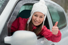 Driving in winter Royalty Free Stock Image