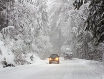 Driving in winter forest Royalty Free Stock Images
