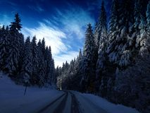 Driving during winter Stock Photo
