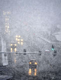 Driving in Winter Storm with Blizzard Snow royalty free stock photography
