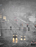 Driving in Winter Storm with Blizzard Snow Stock Image
