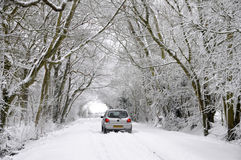 Driving through a winter wonderland Royalty Free Stock Photos