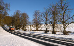 Driving in Winter - Yorkshire - England Royalty Free Stock Image