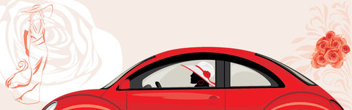 Driving woman a red car on the abstract fashion ba Stock Photos