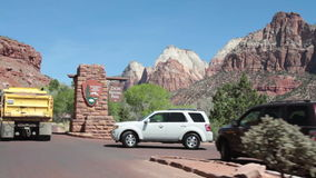 Driving into Zion National Park stock video