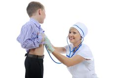 Drktor and little patient Royalty Free Stock Photos