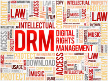 DRM - Digital Rights Management word cloud. Business concept background Royalty Free Stock Photos