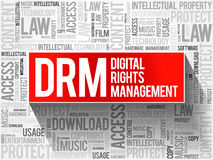 DRM - Digital Rights Management word cloud Stock Image