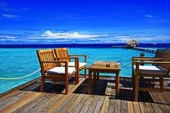 Drömlik terrass Maldiverna Fotografering för Bildbyråer