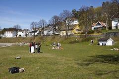 Drobak Akershus, Norge - solbada område Arkivfoton