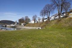 Drobak Akershus, Norge - solbada område och stranden Arkivbilder