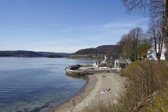 Drobak Akershus, Norvège - prendre un bain de soleil le secteur et la plage Image libre de droits