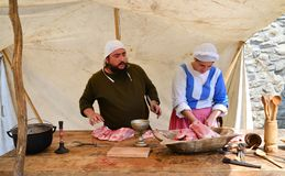 medieval cooking people Stock Photo