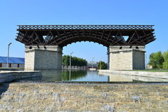Severin city bridge monument Royalty Free Stock Images