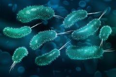 Drobnoustroje pod mikroskopem Wirusy i mikroorganizmy ilustracja wektor