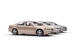 Drodzy samochody w sala wystawowej ilustracji