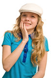 Droefheid van jonge blonde dame Royalty-vrije Stock Foto