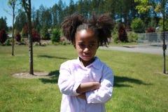 Droevig Afrikaans Amerikaans Meisje Stock Foto