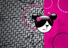 Droevig animemeisje op een achtergrond van harten royalty-vrije illustratie