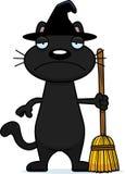 Droevig Beeldverhaal Zwarte Cat Witch Stock Afbeelding