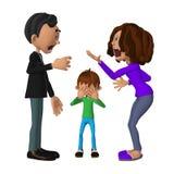Droevig 3d kind die zijn ouders het debatteren horen Royalty-vrije Stock Fotografie
